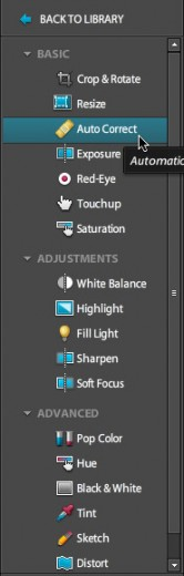 The photo edit menu, simple and straightforward