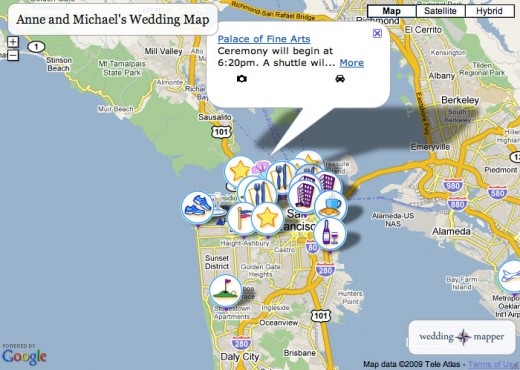An example of the free Wedding Mapper widget, embedded in a webpage
