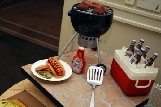 Grill...check. Brews...check. Ice...check. Burgers n dogs...check. Wait, it's ALL cake?