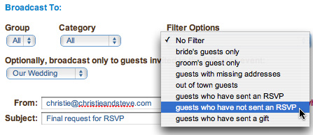 WedShare's email broadcast allows you to request a response from those guests who have not yet done so.