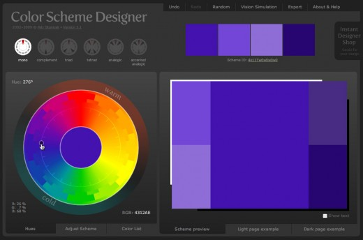 Workspace for Color Scheme Designer. This is just a simple monochrome palette.