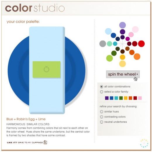 Bride.com's Color Studo Tool