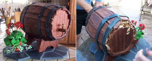 What's even more amazing about this cake than its awesome design is that it actually functions as a keg!