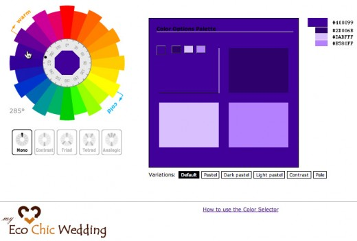 Color selector available from myecochicwedding.com