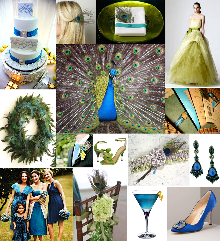 inspiration board a peacock wedding in blue and green pixel ink