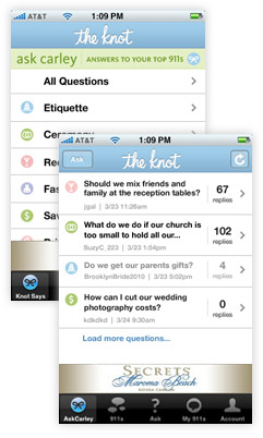 Easy mobile access to TheKnot's directories and forums