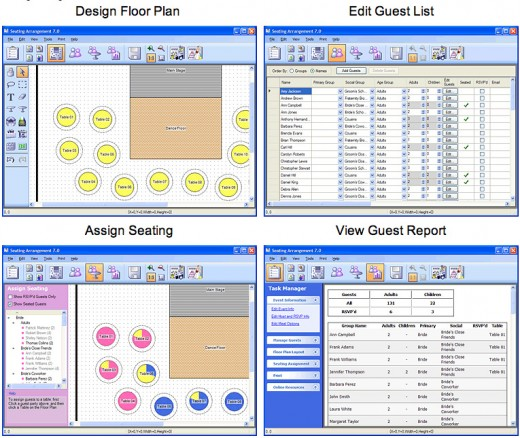 Seating Arrangement for Weddings lets you create seating charts and print reports for free