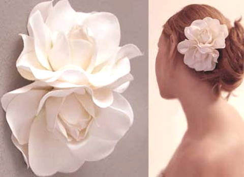Accent your wedding look with silk flower hair clips pixel ink silk flower gardenia hair clip mightylinksfo