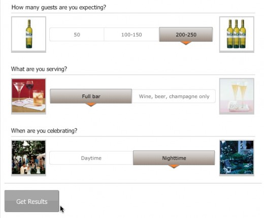 Select your event preferences to see an estimate of how much booze you should expect to buy