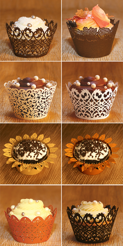 Fall Wedding Favor Cupcake Wrappers and Liners