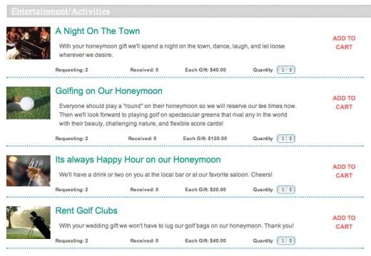 Part of a HoneyLuna.com honeymoon registry
