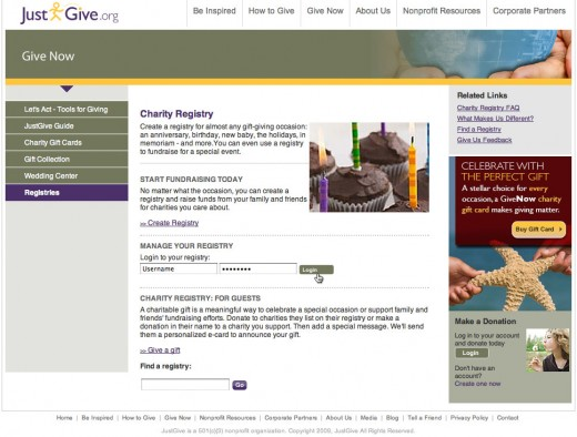 Create a wedding registry with JustGive.org