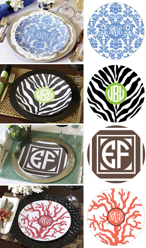 Melamine Wedding Monogrammed Plates & Monogrammed Melamine Plates Make Great Bridesmaid Gifts or Wedding ...