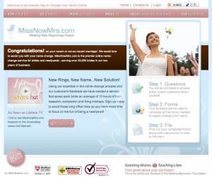Online name change service MissNowMrs.com