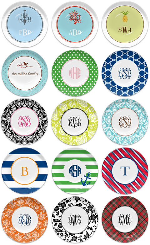 Monogrammed Melamine Plates for Bridesmaids or Bridal Shower