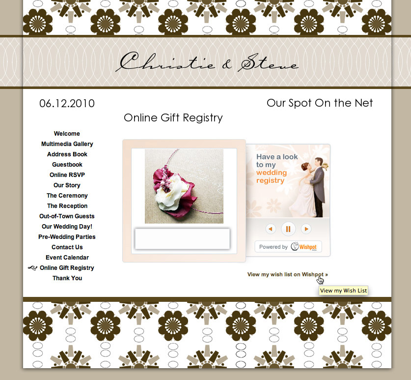 Wedding Gift List Services : Heres our sample WedShare website with the embedded Wishpot widget.