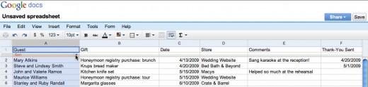 Editing a spreadsheet online using Google Docs