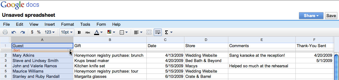 wedding gift tracking and the art of the thank