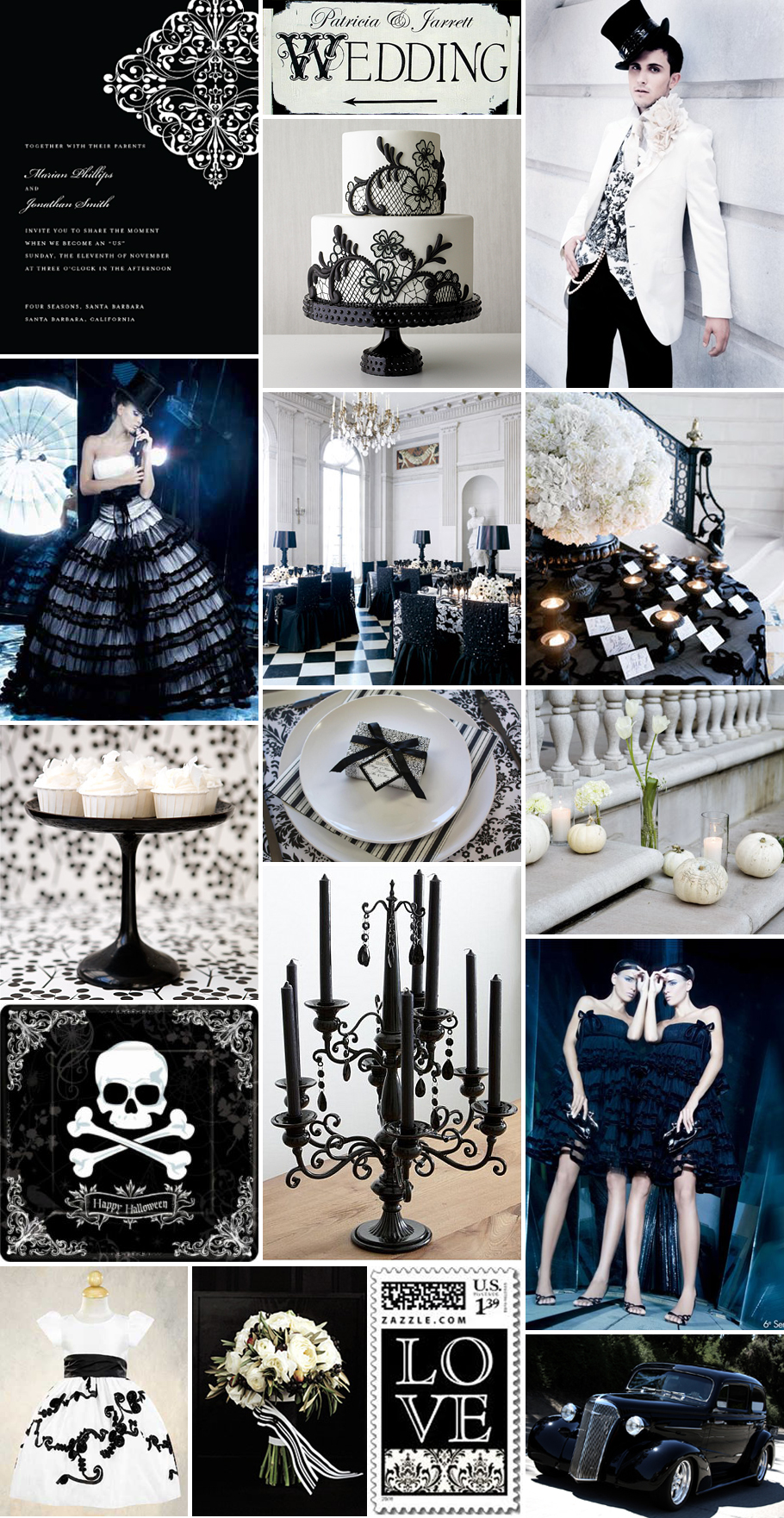 Inspiration Board: A Posh Halloween Wedding in Black & White