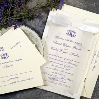 Purple handmade invitation kit from Gartner Studios. This is the one we used for our rehearsal dinner invitations.