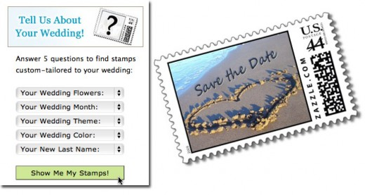 Customization menu from WeddingStamps.us, and a Zazzle save-the-date stamp