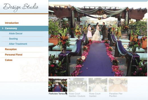 The Ceremony section of Disney's Design Tool lets you see their various ceremony setups