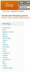 Etsy.com has several categories of wedding items to shop for