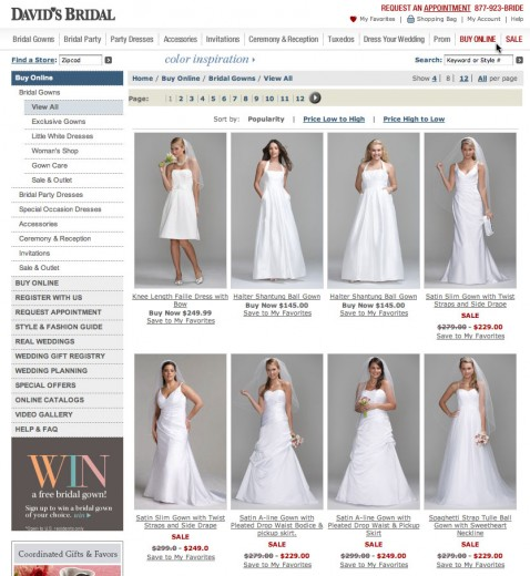 David's Bridal Online Web Store and Info Resource
