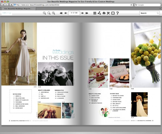 Viewing the premiere issue of Eco-Beautiful Weddings Magazine online