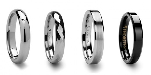 Women's tungsten rings from Larson Jewelers. From left to right: domed, diamond faceted, brush finish center, and beveled black tungsten