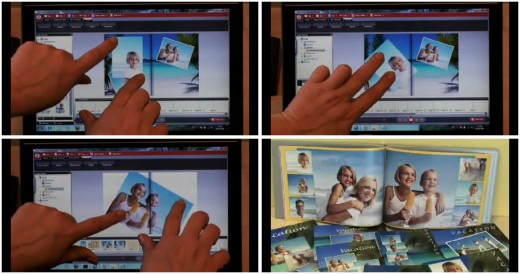 Using the touch features of Smilebooks for Windows 7 to create a photo book