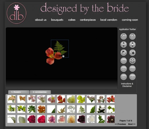 Design your own bouquet with the online tools offered by Designed By The Bride