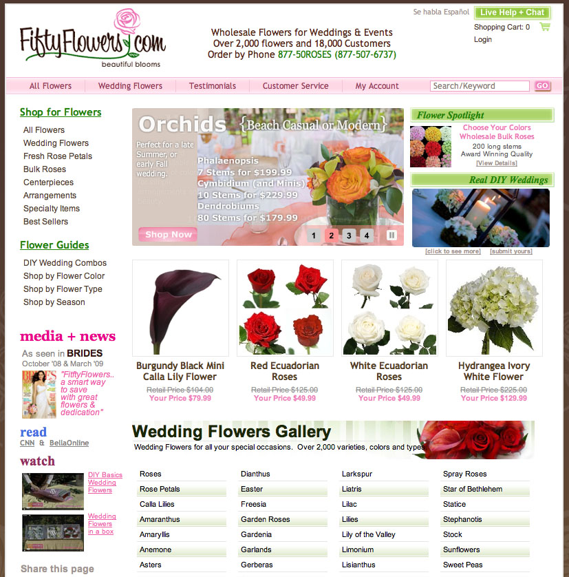 Order your own DIY wedding flowers in bulk from online discounters like FiftyFlowers.comand save