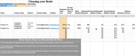 View a sample of each document or use it directly for your own planning. This spreadsheet helps you plan your florist choices
