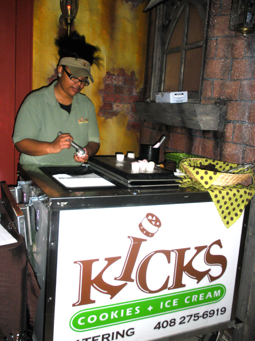 Baked goodies and gelato station provided by Kicks Cookies and Ice Cream. Great idea for your reception!
