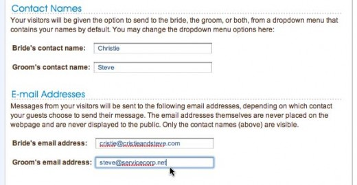 Set your names and contact email addresses where visitor correspondence will go