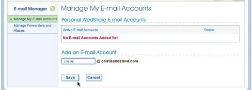 Create your own wedding-specific email addresses at your website easily with WedShare's Email Manager