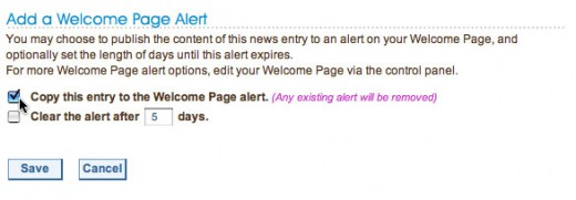 Any mailing list broadcast can also be added as an alert to your wedding website's home page