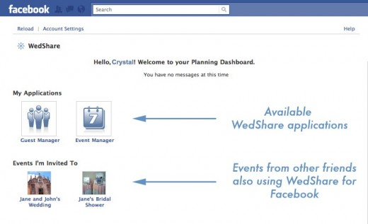 Your WedShare for Facebook dashboard. Two applications are live in the beta release