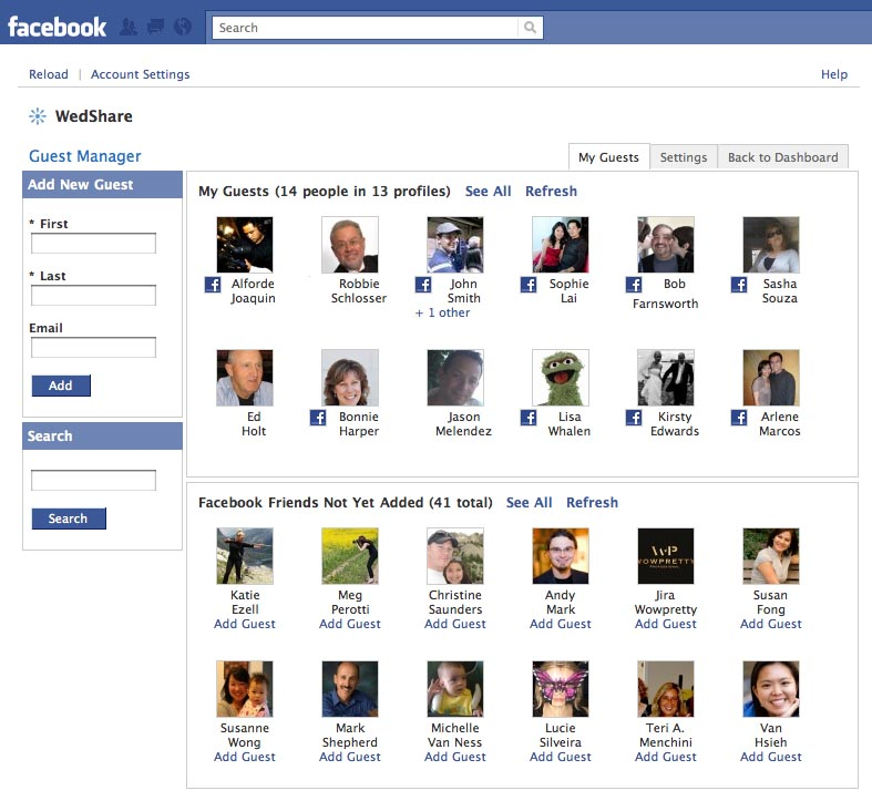 WedShare for Facebook Guest Manager integrates your guests and Facebook friends