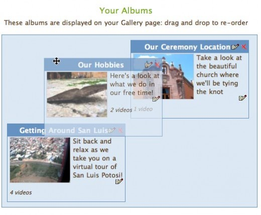 Drag your video albums and videos into the order you'd like them presented on your website