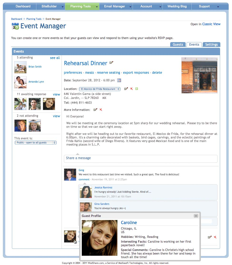 The new Event Manager includes a convenient guest list panel and message board