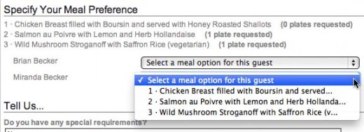 Guests can assign meal options directly