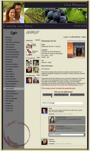 Your website's RSVP Page provides a lot of interactivity for your guests